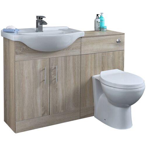 HUDSON REED Waschbecken und Toiletten Set - Eiche 1140mm - Standard Option 1