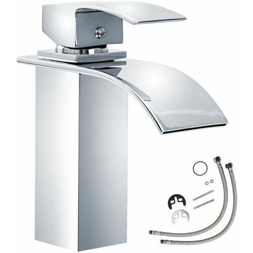 Tectake - Wasserhahn Wasserfall gebogener Auslauf - Badarmatur,