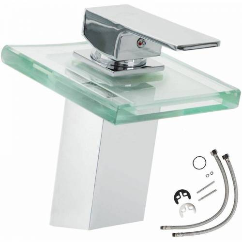 TECTAKE Wasserhahn Wasserfall Glas eckiger Auslauf - Badarmatur,