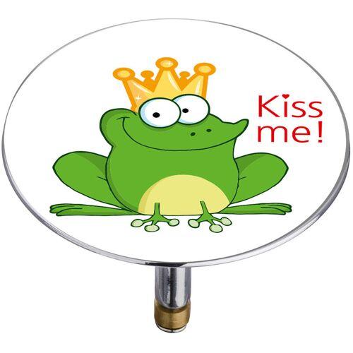 WENKO Pluggy® Abflussstöpsel Badewannen Stöpsel Waschbecken XXL Frosch Kiss me