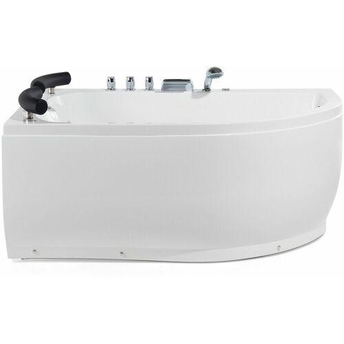 BELIANI Whirpool-Badewanne Weiß mit LED-Beleuchtung SPA Modern