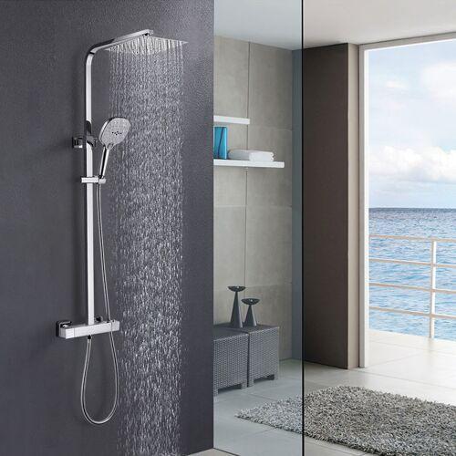 WOOHSE Duschset Duschsystem mit Thermostat, Regendusche Duschsäule mit