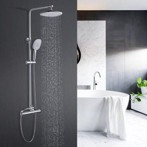 WOOHSE Duschsystem mit Thermostat, Duschsystem Regendusche Handbrause mit 3