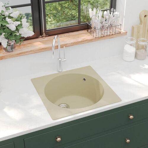 YOUTHUP Küchenspüle mit Überlauf Beige Granit