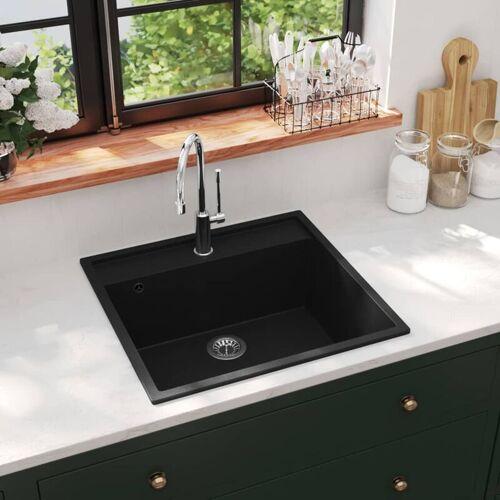 YOUTHUP Küchenspüle mit Überlauf Schwarz Granit
