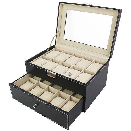 TODECO Uhrbox, Uhr und Armband Aufbewahrung, 20 Uhren mit Schublade und