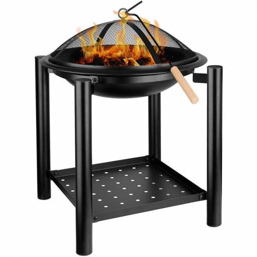 femor Feuerschale, 54,5X 54,5X 70 cm, Feuerstelle mit Grillrost,