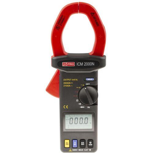 RS PRO ICM2000N LCD Zangenmessgerät / 600V dc 600V ac / 2.5kA dc 2.1kA ac,