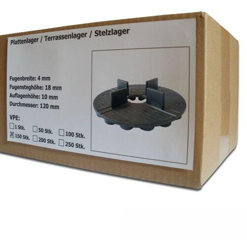 SANPRO 150 Stück Gummi Plattenlager / Terrassenlager mit Fugenkreuz 4/18 mm