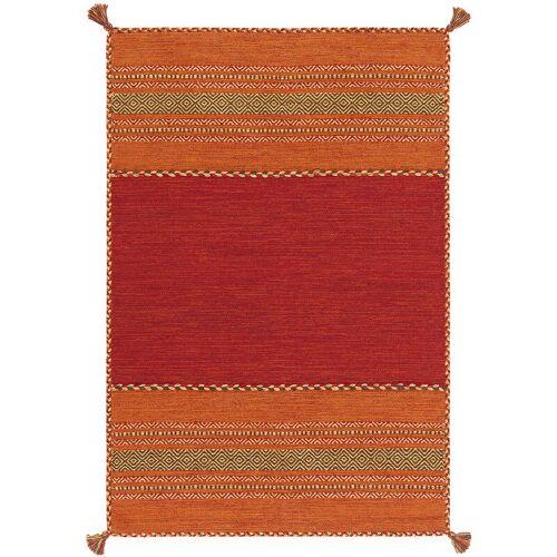 ONE COUTURE Arte Espina Teppich 100% Wolle Kilim Fransen Teppichewohnzimmer Rot