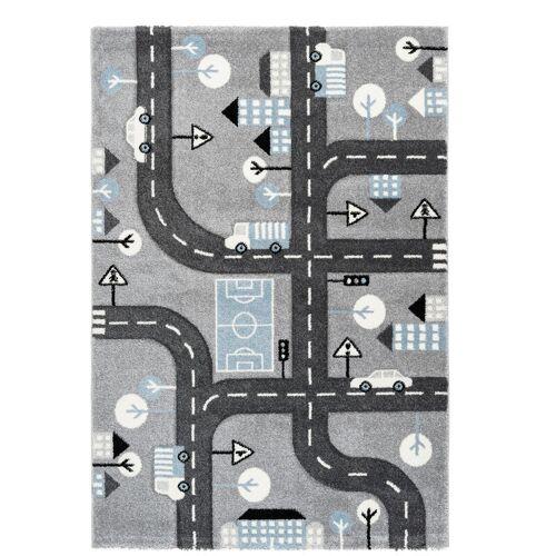 ONE COUTURE Kinderteppich Straßen Design Straßen Motiv 3D Effekt Blau Weiß Grau