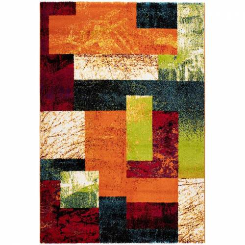 ONE COUTURE Rainbow Flachflor Teppich Modern Graphic Carpet Heatset Kasten Design