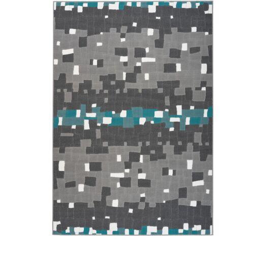ONE COUTURE Teppich Kästchen Kasten Pixel Muster Teppiche Wohnzimmer Grau Blau