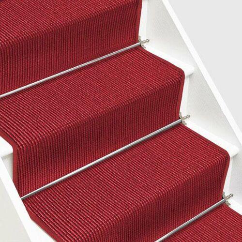 Floordirekt - 1A Sisal-Treppenteppich auf Maß Sylt Rot Breite: 100 cm,