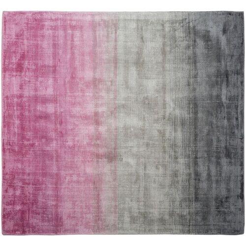 BELIANI Teppich Grau Rosa Kunstseide Baumwolle 200 x 200 cm Ombre Muster