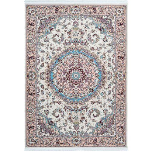 ONE COUTURE Teppich Klassisch Orientalisch Ornamente Aubusson Fransen Creme Blau