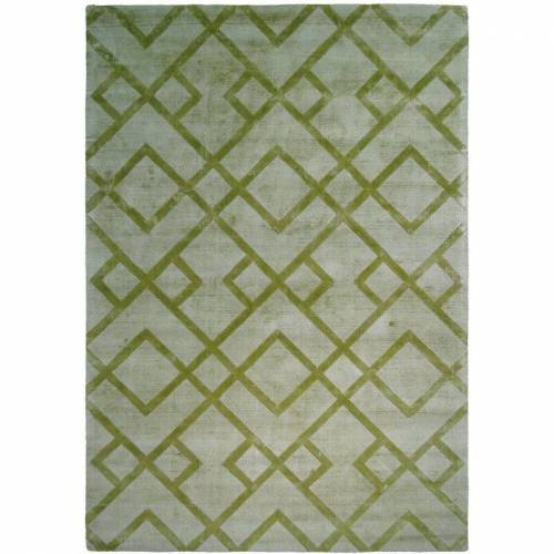 ONE COUTURE Teppich Modern Ethno Muster Azteken Zick Zack Design Rauten Geom. Grün