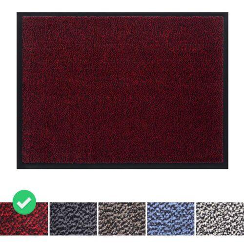 PANORAMA24 Fußmatte Schmutzfangmatte 90x120 cm, Farbe: Rot, Türmatte Fußabtreter
