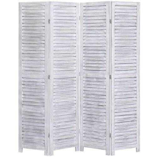 VIDAXL 4-tlg. Raumteiler Grau 140×165 cm Holz