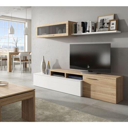 Caesaroo - Wohnzimmer set 200 cm Nova Glänzend weiß und Eiche