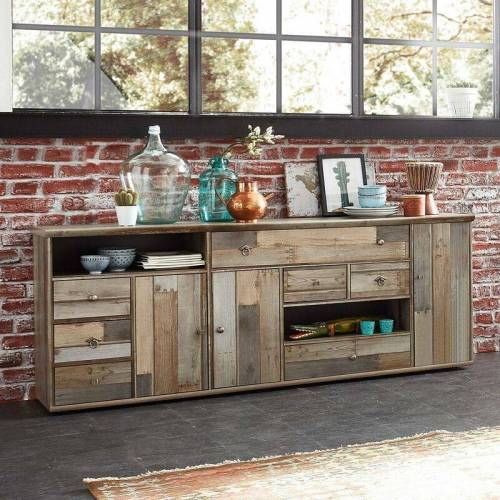 Lomadox - Sideboard Vintage Driftwood Braun BRANSON-36 BxHxT ca.