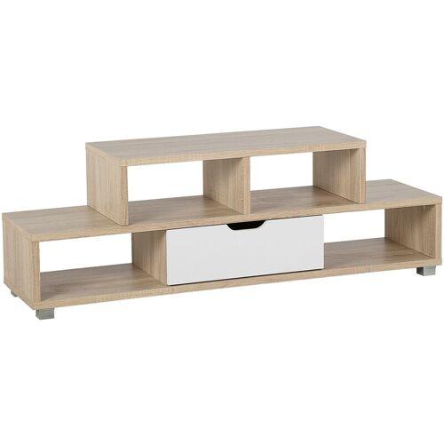 Beliani - TV Möbel Heller Holzfarbton Weiß MDF Platte Faserplatte 50 x
