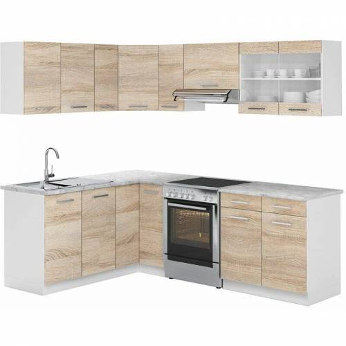 Vicco Küchenzeile L 230Cm Küchenblock Winkel Eck Einbau Sonoma Eiche