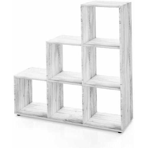 Vicco Treppenregal 6 Fächer - 105 cm Beton - Raumteiler Stufenregal