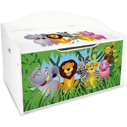 LEOMARK XL Weiße Kinderbank - Zoo Tiere - Holz Sitzbank für Spielzeug