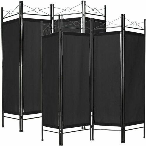 TECTAKE 2 Raumteiler - Trennwand, Raumtrenner, Stellwand - schwarz