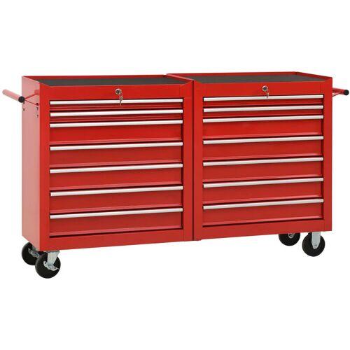 Vidaxl - Werkzeugwagen mit 14 Schubladen Stahl Rot