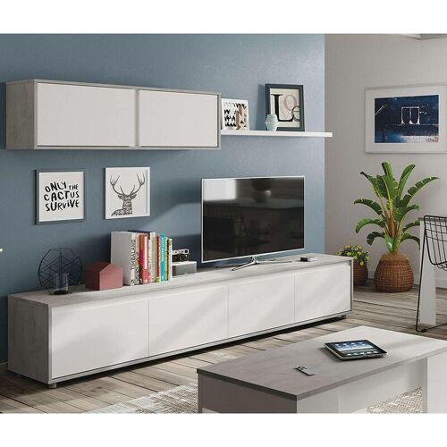 DMORA Wohnzimmer Fernsehschrank mit vier Flügeltüren mit einem Hängeschrank