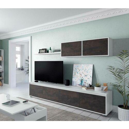 DMORA Wohnzimmer-Fernsehschrank mit vier Türen, einem Hängeschrank mit zwei