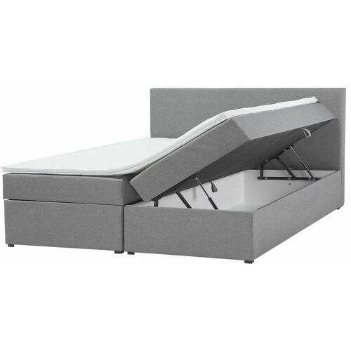 Beliani - Boxspringbett Grau mit Bettkasten Stoff 180 x 200 cm