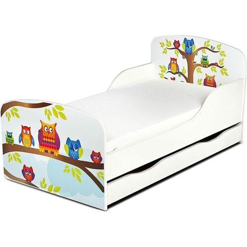 LEOMARK Einzelbett aus Holz - Eulen - Kinderbett mit Schubladen und Matratze +