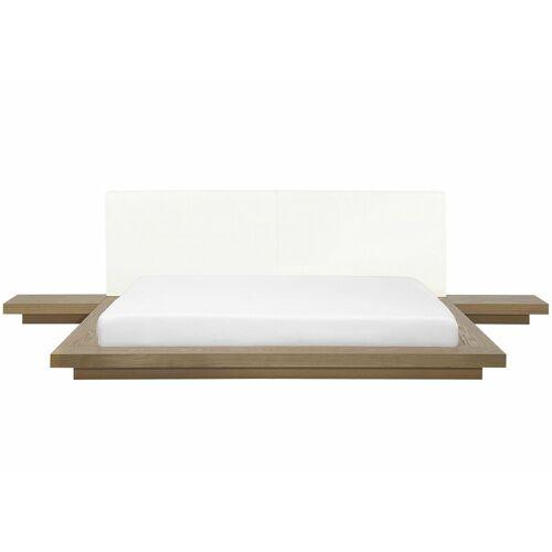 Beliani - Wasserbett Braun 180 x 200 cm Weiß Kunstleder Mit Lattenrost