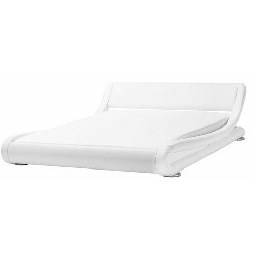 Beliani - Wasserbett Leder Weiß 160 x 200 cm Geschwungene Form Hohe