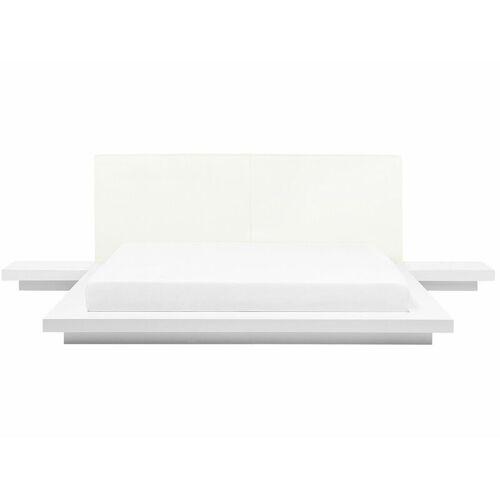 Beliani - Wasserbett Weiß 180 x 200 cm Weiß Kunstleder Mit Lattenrost