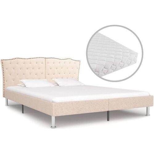 VIDAXL Bett mit Matratze Beige Stoff 180 x 200 cm - VIDAXL