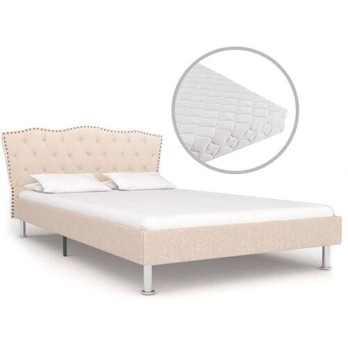 VIDAXL Bett mit Matratze Beige Stoff 140 x 200 cm - VIDAXL