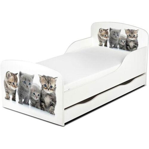 LEOMARK Familie der Kätzchen- Kinderbett mit Schubladen und Matratze +