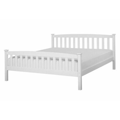 Beliani - Holzbett Weiß 140 x 200 cm Mit Lattenrost Stabile