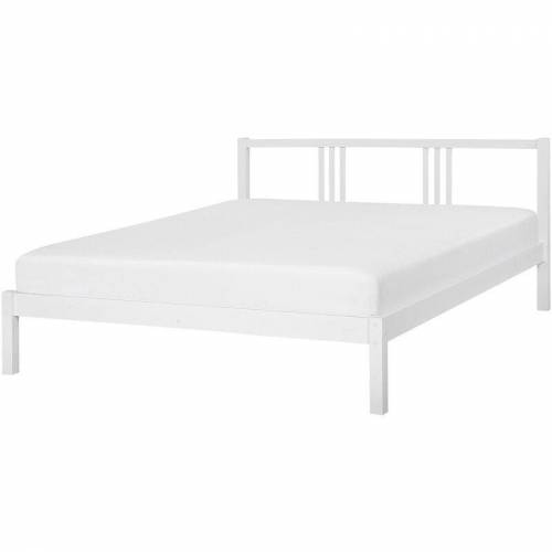 BELIANI Holzbett Weiß 160 x 200 cm Mit Lattenrost Stabile Konstruktion