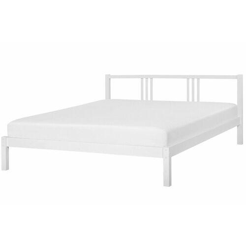 Beliani - Holzbett Weiß 180 x 200 cm Mit Lattenrost Stabile