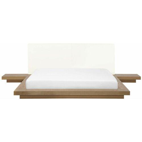 BELIANI Wasserbett Braun 160 x 200 cm Mit Wasserbettmatratze Holzfurnierte MDF