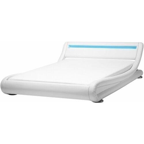 BELIANI Wasserbett Weiß mit LED Kunstleder 180 x 200 cm Modern