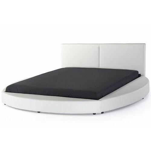 Beliani - Wasserbett Leder Weiß 180 x 200 cm Doppelbett Unterteilte
