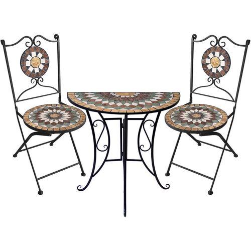 WOHAGA® 3tlg. Mosaik Gartengarnitur Mosaiktisch halbrund 70x35cm + 2x