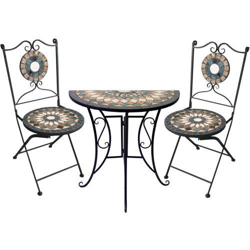 WOHAGA® 3tlg. Sitzgarnitur Mosaiktisch halbrund 70x35cm + 2 Mosaikstühle
