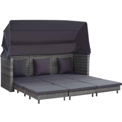 VIDAXL Ausziehbares 3-Sitzer-Schlafsofa mit Dach Poly Rattan Grau